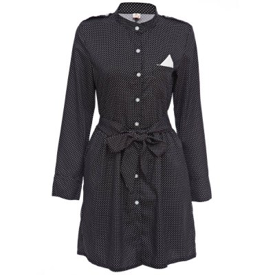 Chic Stand Collar Long Sleeve Dot Print Button Design Lace-Up A-Line Women Mini Dress