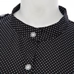 Chic Stand Collar Long Sleeve Dot Print Button Design Lace-Up A-Line Women Mini Dress photo
