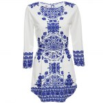 Vintage Jewel Collar Long Sleeve Printed Women Mini Dress photo