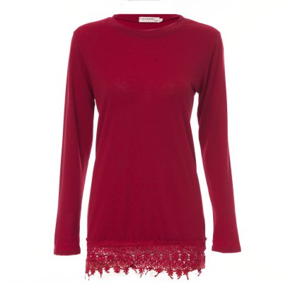 Sweet Round Collar Long Sleeve Lacework Solid Color Women Mini Dress