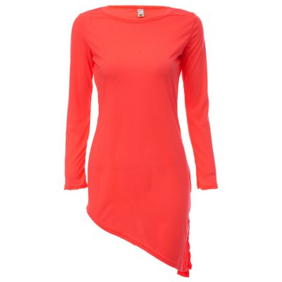 Scoop Collar Long Sleeve Solid Color Bowknot Women Mini Dress