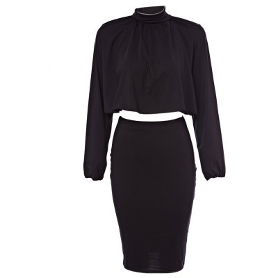 Stand Collar Long Sleeve Backless Crop Blouse + Elastic Waist Pure Color Skirt Women Two Piece Dress