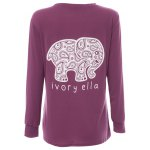 Casual Round Collar Long Sleeve Elephant Women T-Shirt