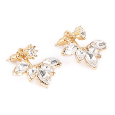 Charming Floral Rhinestone Alloy Stud Earrings for Women