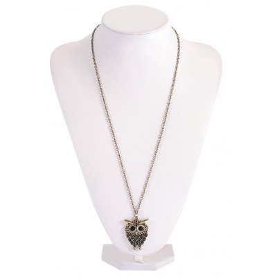 Sweet Owl Crystal Alloy Pendant Necklace for Women