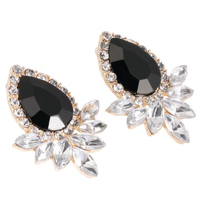 Fashionable Rhinestone Water Drop Alloy Stud Earrings for Ladies