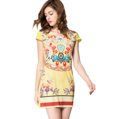 Old Classical Style Scoop Collar Short Sleeve Printed Mini Dress for Women