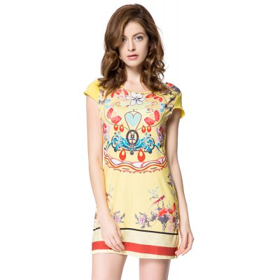 Vintage Scoop Collar Short Sleeve Printed Women Mini Dress