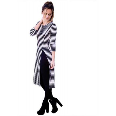 Casual Round Collar Long Sleeve Striped High Split Dress for Women