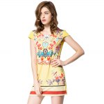 Old Classical Style Scoop Collar Short Sleeve Printed Mini Dress for Women for sale