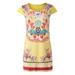 Old Classical Style Scoop Collar Short Sleeve Printed Mini Dress for Women photo