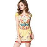 Old Classical Style Scoop Collar Short Sleeve Printed Mini Dress for Women deal