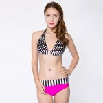 Sexy Halter Polka Dot Print Color Block Bikini Set for Women