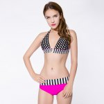 Sexy Halter Polka Dot Print Color Block Bikini Set for Women deal