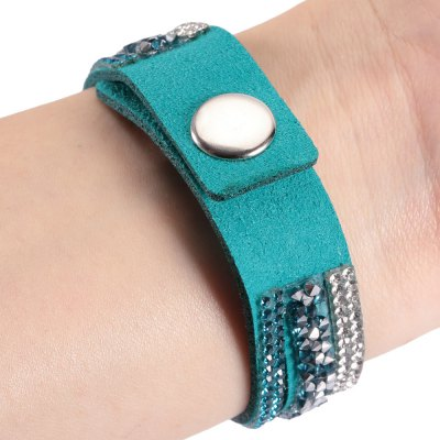Rhinestone Embellished Radiation Protection Leather Bracelet