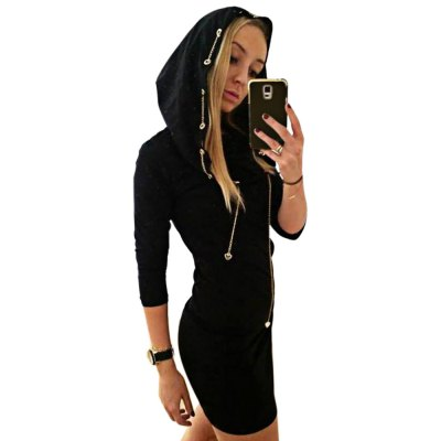 Casual Hooded Long Sleeve Chain Design Skinny Hooded Dress for Women