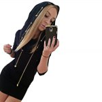 cheap Casual Hooded Long Sleeve Chain Design Skinny Hooded Dress for Women