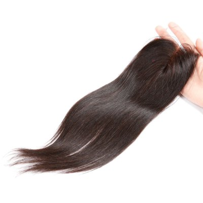 Middle Part Brazilian Swiss Lace Closure Straight Human Remy Hair Weave