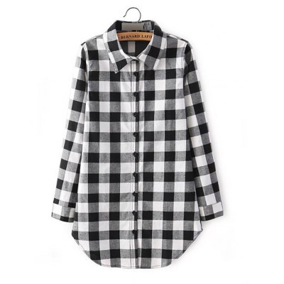 Trendy Shirt Collar Long Sleeve Plaid Print Shirt Dress for Women