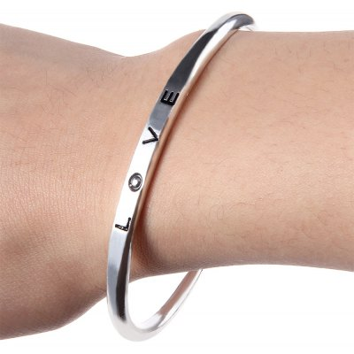 Ladies Open Bangle with Words Love