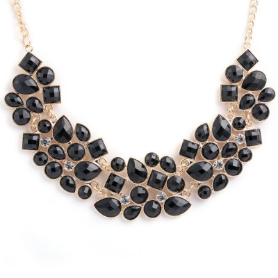 Retro Geometric Crystal Embellished Joint Necklace