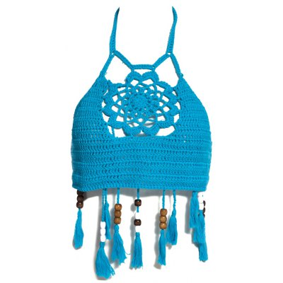 Vintage Halter Hollow Out Knitted Fringed Women Bikini Top
