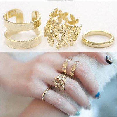 3pcs Leaf Open Design Alloy Rings for Ladies
