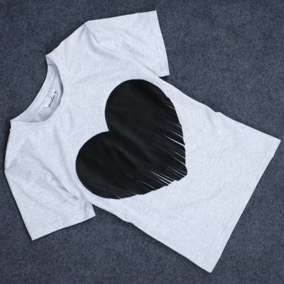 Jewel Collar Heart-Shaped Fringed T-Shirt for Women