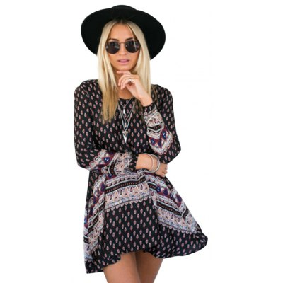 Bohemian Round Collar Long Sleeve Tribal Print A-Line Loose-Fitting Women Mini Dress