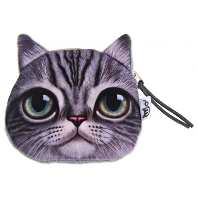 Novelty 3D Cartoon Cat Floral Zipper Design Unisex Change Purse