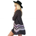 cheap Bohemian Round Collar Long Sleeve Tribal Print A-Line Loose-Fitting Women Mini Dress