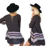 Bohemian Round Collar Long Sleeve Tribal Print A-Line Loose-Fitting Women Mini Dress deal