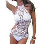 Sexy Jewel Collar Sleeveless Hollow Out Knitted Women One Piece Swimsuit