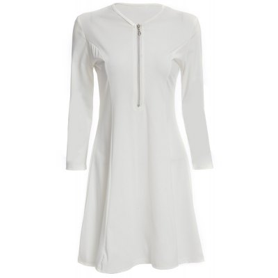 Sexy V-Neck Long Sleeve Pure Color A-Line Ladies  Mini Dress