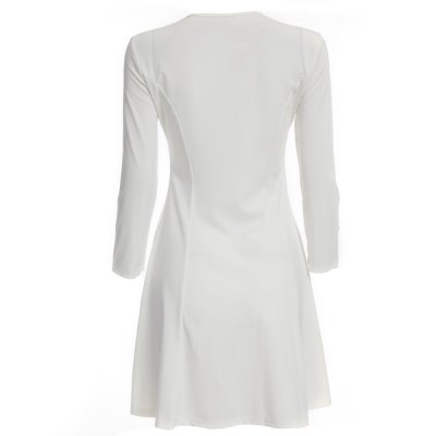 Sexy V-Neck Long Sleeve Pure Color A-Line Women Mini Dress