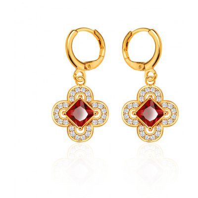 Flower Design AAA Cubic Zirconia Embellished 18K Gold Plated Earrings for Women