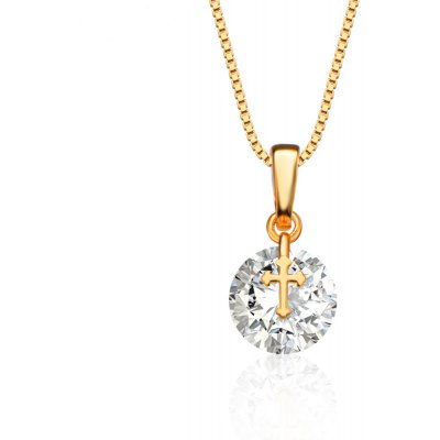 Cross AAA Cubic Zirconia Embellished 18K Gold Plated Pendant Necklace for Women