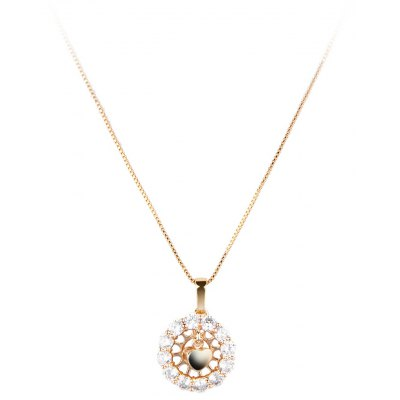 Swing Heart AAA Cubic Zirconia Embellished 18K Gold Plated Pendant Necklace