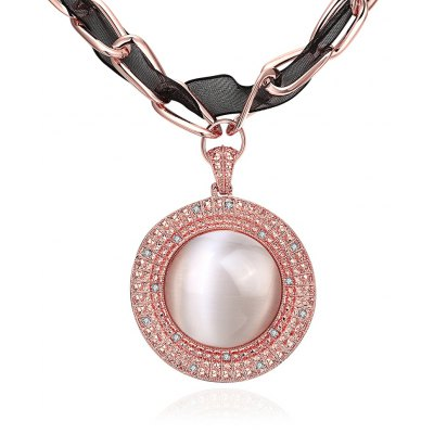 Faux Opal Zircon Embellished Women Rose Gold Plated Pendant Necklace