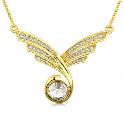 Women Zircon Embellished Gold Plated Pendant Necklace