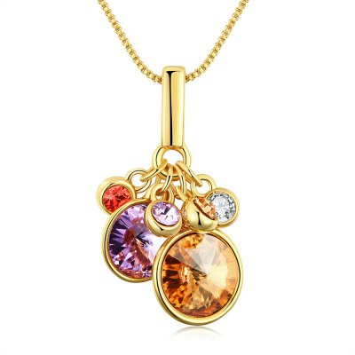 Women Round Zircon Embellished Gold Plated Necklace