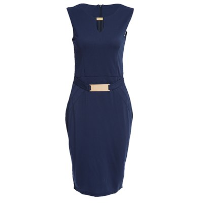 Simple Keyhole Neck Sleeveless Pure Color Bodycon Women Midi Dress
