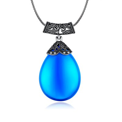 Water Drop Design Resin Zircon Embellished Siver Plated Women Necklace