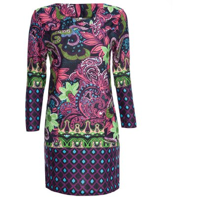 Round Collar 3/4 Sleeve Full Print Straight Women Midi Dress