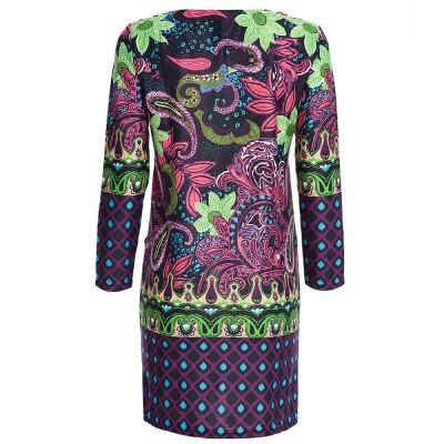 Retro Style Round Collar 3/4 Sleeve Full Print Straight Women Midi Dress