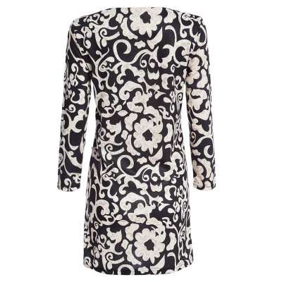 Stylish Round Collar 3/4 Sleeve Floral Print Straight Women Midi Dress