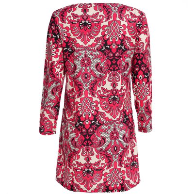 Vintage 3/4 Sleeve Round Collar Full Print Straight Women Midi Dress
