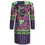cheap Old Classical Style Round Collar 3/4 Sleeve Full Print Straight Women Midi Dress