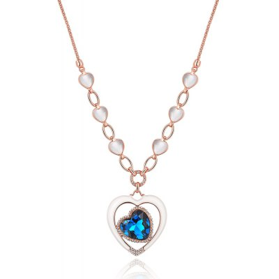 Heart Design Zircon Embellished Ladies Long Necklace