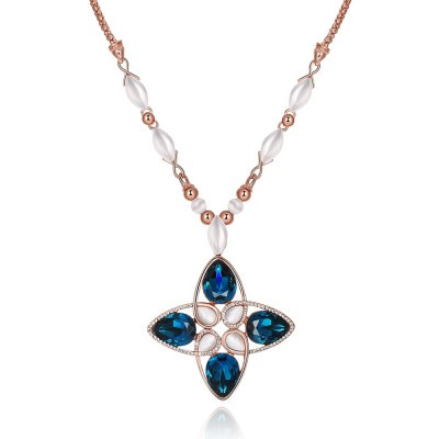 Geometric Design Faux Opal Zircon Embellished Ladies Long Necklace